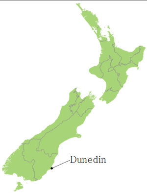 The location of Dunedin in New Zealand.