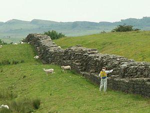 Hadrian's Wall near Birdoswald Fort. Man with ...