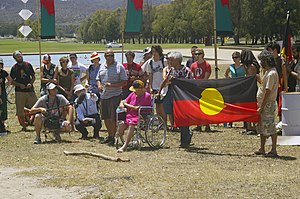 English: Invasion Day protest at the Aborigina...