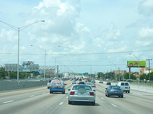 The Palmetto Expressway northbound near Hialea...