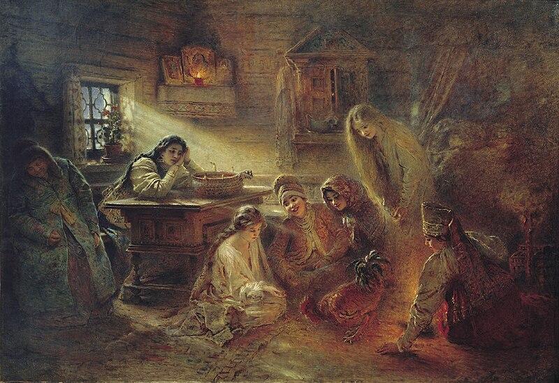 File:Svyatochniye gadaniya by K.Makovskiy (c.1905, Atheism museum).jpg