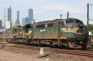 Three styles of diesel locomotives in Victoria...