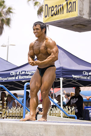 bodybuilder at Venice Beach