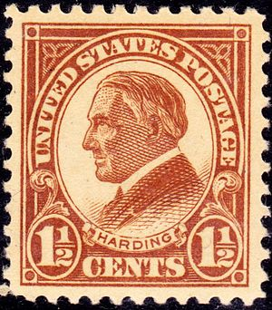 English: Warren Harding on US Postage, issue o...