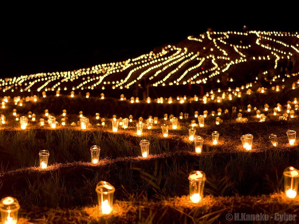 白米千枚田万燈まつり (Candle night at Hakumai Senmaida) 19 Oct, 2013 - panoramio