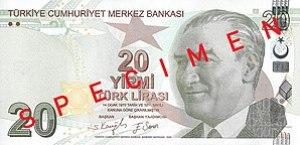 English: Front of 20 Turkish Lira Türkçe: 20 T...