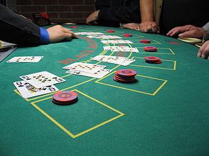 A blackjack game in progress