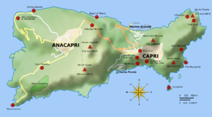 English: Map of Capri. Uses terrain data from ...