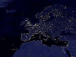 Europe at night.