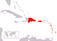 A map showing most of the Lesser Antilles in red. Puerto Rico and the Dominican Republic are also red.