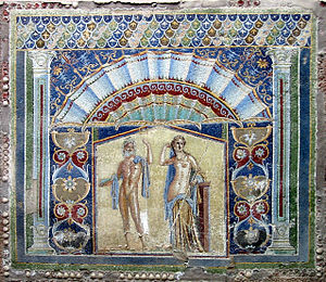 Herculaneum. Ancient Roman mosaic with Neptune...