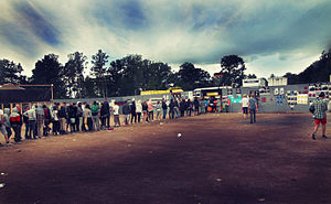 Waiting in line at Hultsfred Festival.