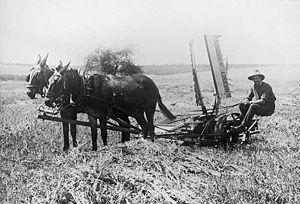 Palestine, Jewish farmer with modern machinery.
