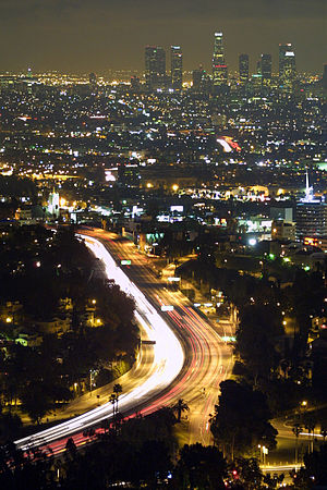 Nighttime view of Downtown Los Angeles and the...