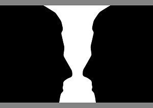 Two silhouette profiles or a white vase? (an o...