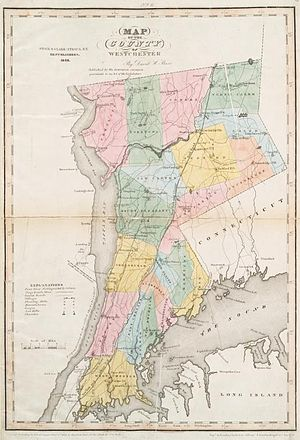 English: Westchester County, NY map from 1839.