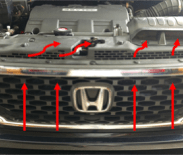 Illustration Of How Fresh Air Enters Forward Of The Radiator And How It Is Directed To The Airbox  Rtl With Oem Accessory Grille