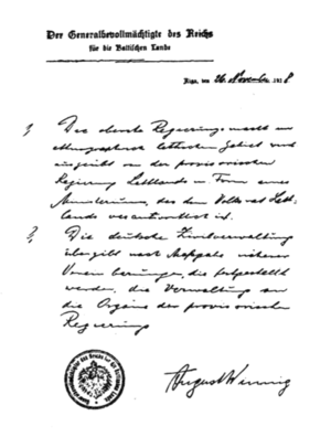 Deutsch: Anerkennung der lettischen Regierung ...