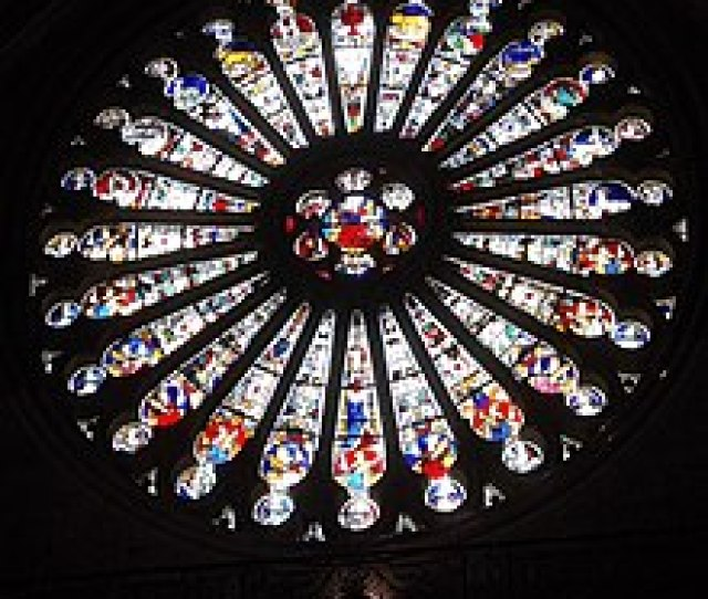 Angers Cathedral South Rose Window Of Christ Centre With Elders Bottom Half And Zodiac Top Half Mediaeval Stained Glass By Andre Robin After The Fire