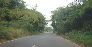 Road in Agboville area, Côte d'Ivoire.