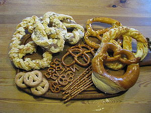 Selection of sweet and hearty pretzels (Germany)