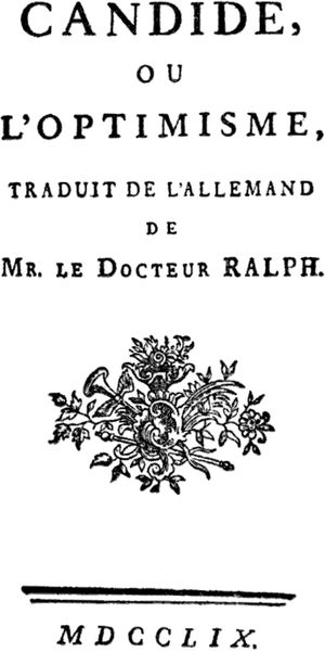 This was a frontispiece of Voltaire's Candide,...