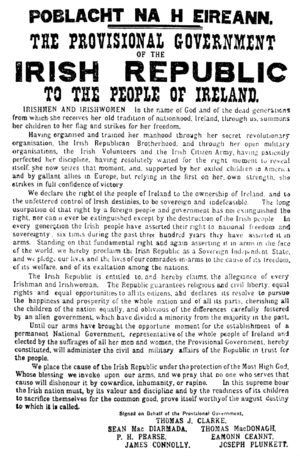 The Easter Proclamation of 1916.