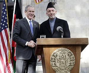 U.S. President George W. Bush and Afghan Presi...
