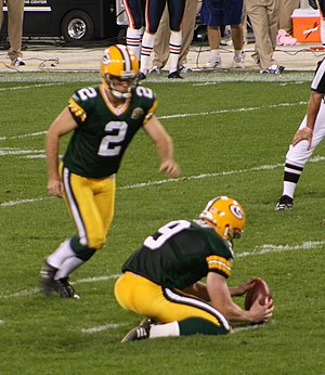 Mason Crosby kicks a field goal during a Green...