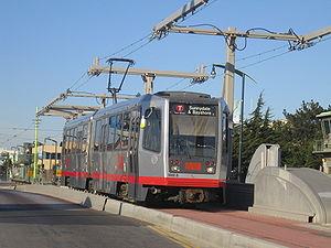 A light rail vehicle on the T Third Street lin...