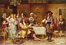 The Birth of Pennsylvania, 1680, by Jean Leon Gerome Ferris. William Penn, holding paper, standing and facing King Charles II, in the King's breakfast chamber at Whitehall.