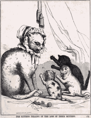 An illustration from R. N. Ballantyne's 1858 story based on the Three Little Kittens nursery rhyme.