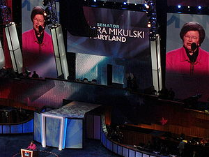 English: Barbara Mikulski speaks during the se...