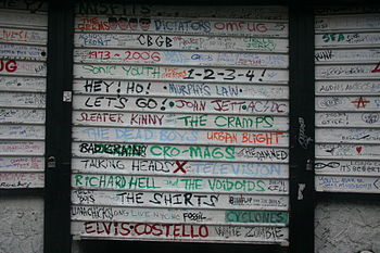 English: The entrance to CBGB the day after th...