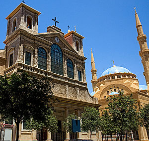 A mosque and church side by side