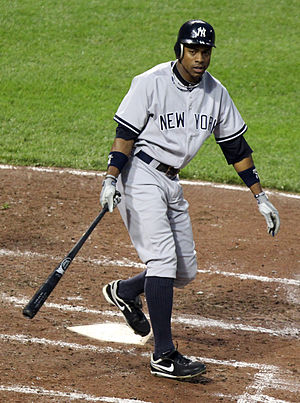 Curtis Granderson at bat during a game between...