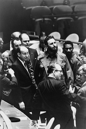 Fidel Castro, president of Cuba, at a meeting ...
