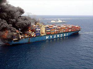 Nederlands: Het containerschip Hyundai Fortune...