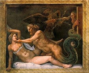 Zeus seduces Olympias. Fresco by Giulio Romano...