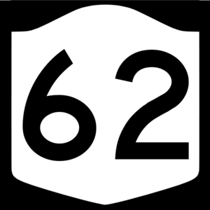 English: NY 62 shield (former route, not to co...