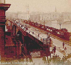 London Bridge, stereopticon card photo from ea...