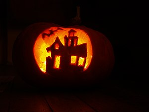 Pumpkin carving - photo taken in darkness to s...