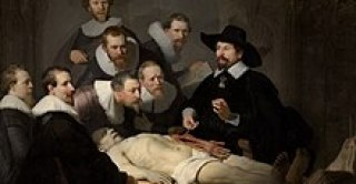 """A painting of an autopsy, by Rembrandt, entitled """"The Anatomy Lesson of Dr. Nicolaes Tulp"""""""