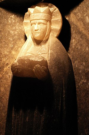 In the salt mines of Wieliczka, a statue of Sa...