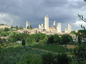 Many towns, such as San Gimignano, were enclos...
