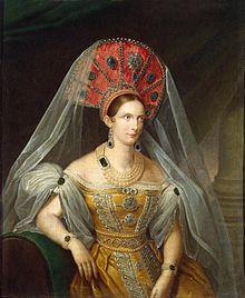 Alexandra Fedorovna in yellow Russian dress (1836, A.Malyukov, Hermitage).jpg