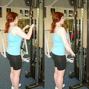 The pushdown is used to exercise the triceps m...