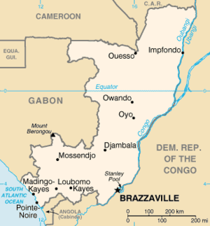 Map of the Republic of the Congo.
