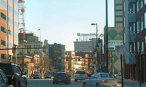 View of Elm Street, in Manchester, New Hampshire.