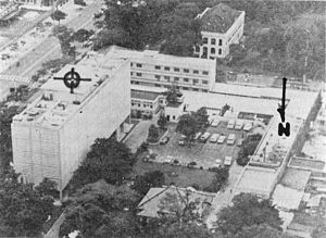 Aerial view of the US Embassy, Saigon, showing...